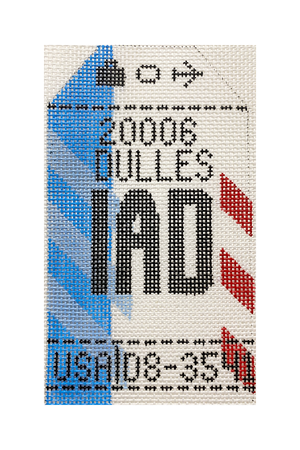 Washington DC IAD Vintage Travel Tag Canvas - needlepoint
