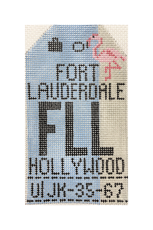 Fort Lauderdale Vintage Travel Tag Canvas - needlepoint