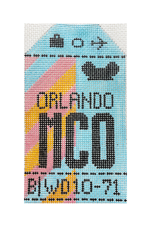 Orlando Vintage Travel Tag Canvas - needlepoint