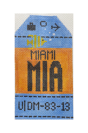Miami Vintage Travel Tag Canvas - needlepoint