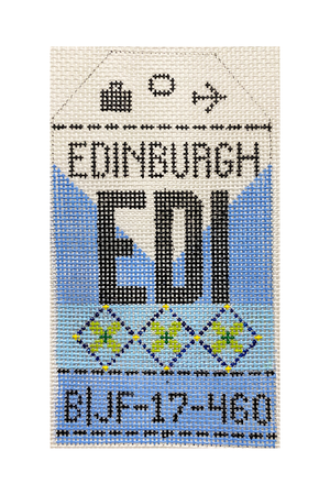 Edinburgh Vintage Travel Tag Canvas - needlepoint