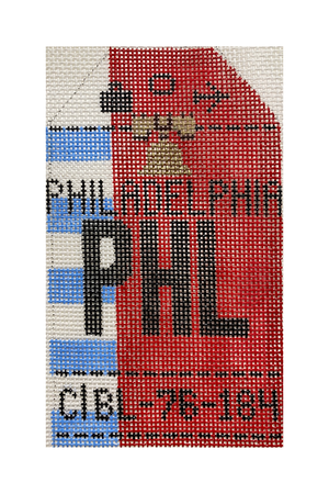 Philadelphia Vintage Travel Tag Canvas - needlepoint