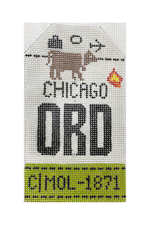 Chicago Vintage Travel Tag Canvas - needlepoint
