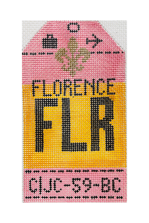 Florence Vintage Travel Tag Canvas - needlepoint