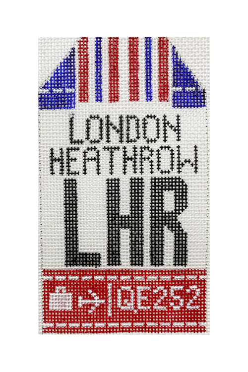 London Vintage Travel Tag Canvas - needlepoint