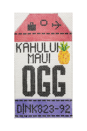 Maui Vintage Travel Tag Canvas - needlepoint
