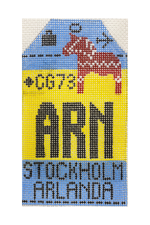 Stockholm Vintage Travel Tag Canvas - needlepoint
