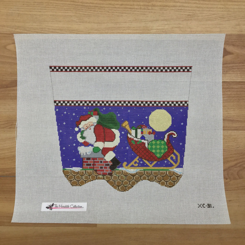 Up on the Rooftop Stocking Topper Canvas-Needlepoint Canvas-The Meredith Collection-KC Needlepoint