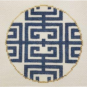 Fret in Blue Canvas - needlepoint