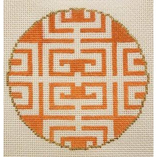 Fret in Orange Canvas - needlepoint