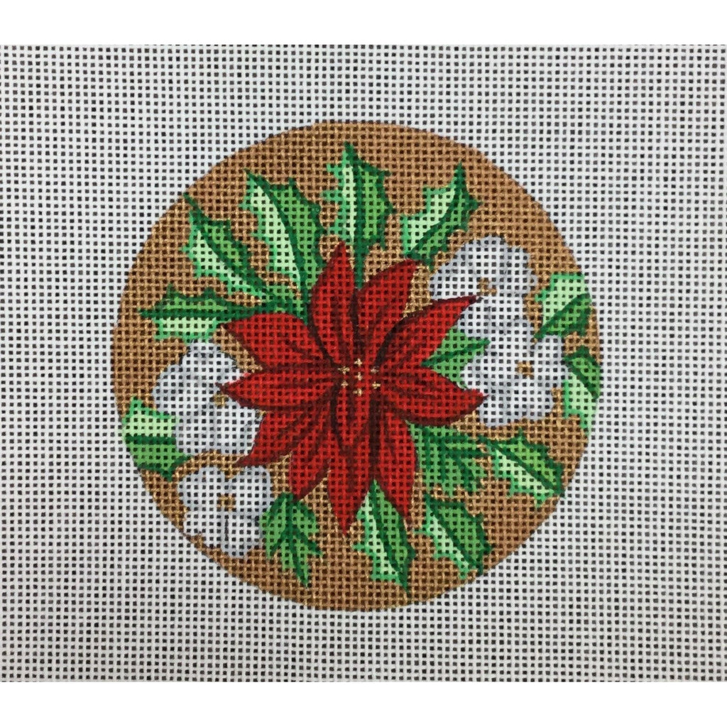Poinsettia Round Ornament - needlepoint