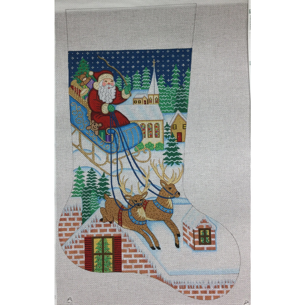 Santa w/ Reindeer Stocking Canvas-Needlepoint Canvas-Alexa Needlepoint Designs-KC Needlepoint