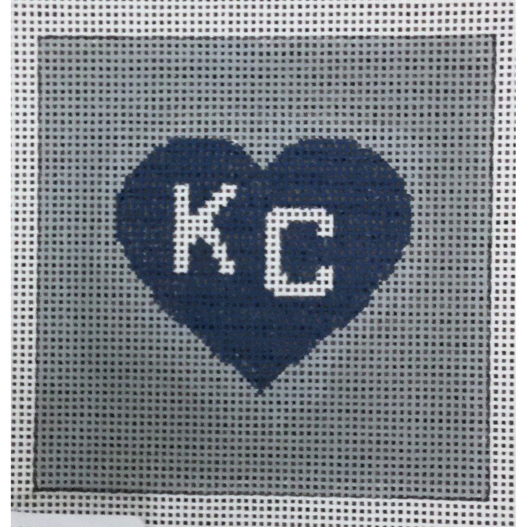 "KC in Heart 4 1/2"" Square Canvas-Needlepoint Canvas-KCN Designers-Blue Heart on Gray-KC Needlepoint"