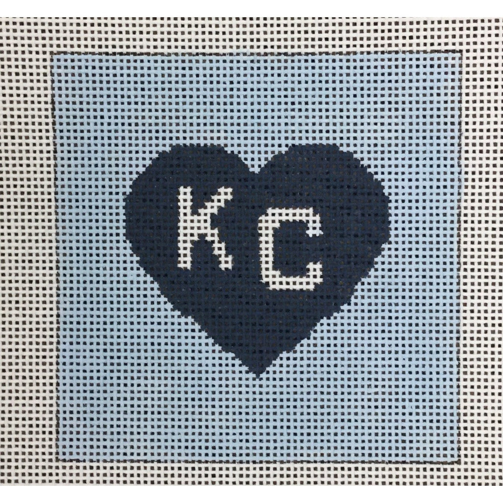 "KC in Heart 4 1/2"" Square Canvas-Needlepoint Canvas-KCN Designers-Blue Heart on Blue-KC Needlepoint"