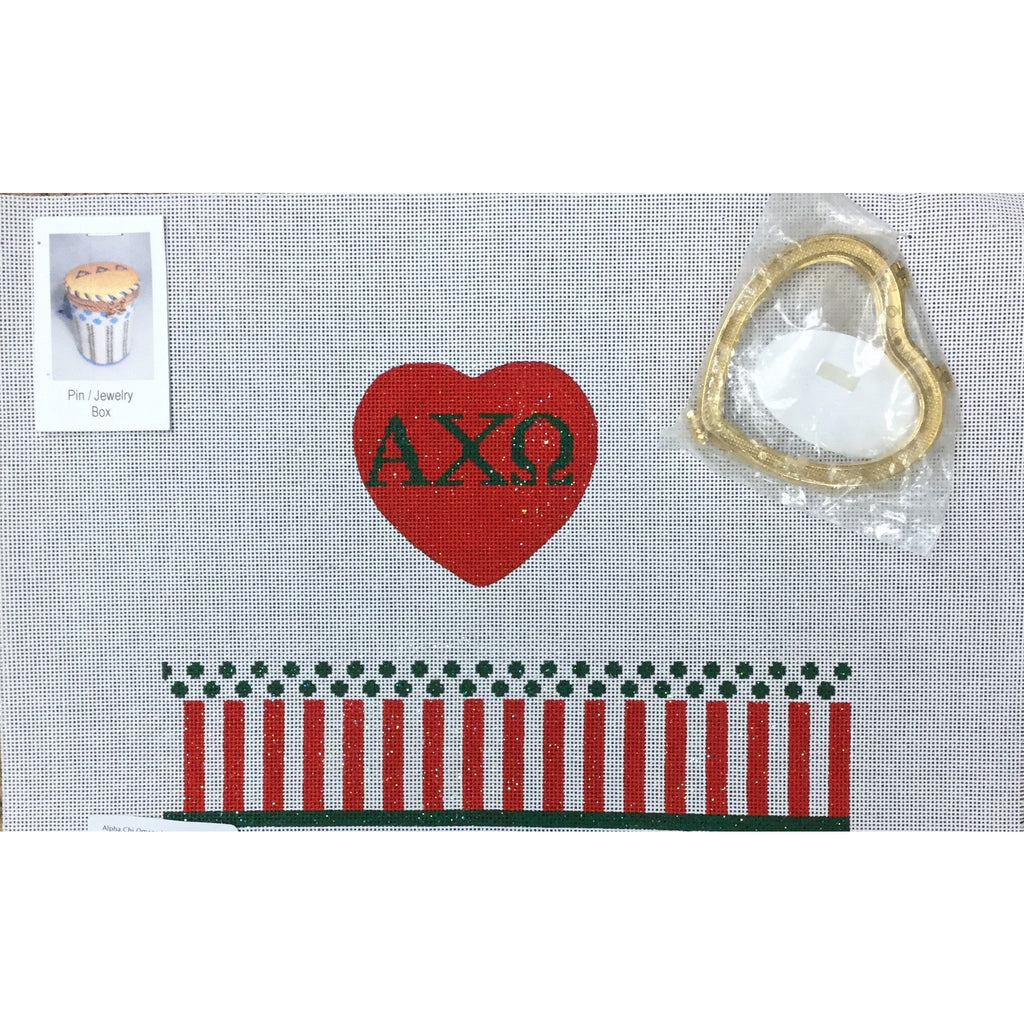 Alpha Chi Omega Limoges Box Canvas - needlepoint