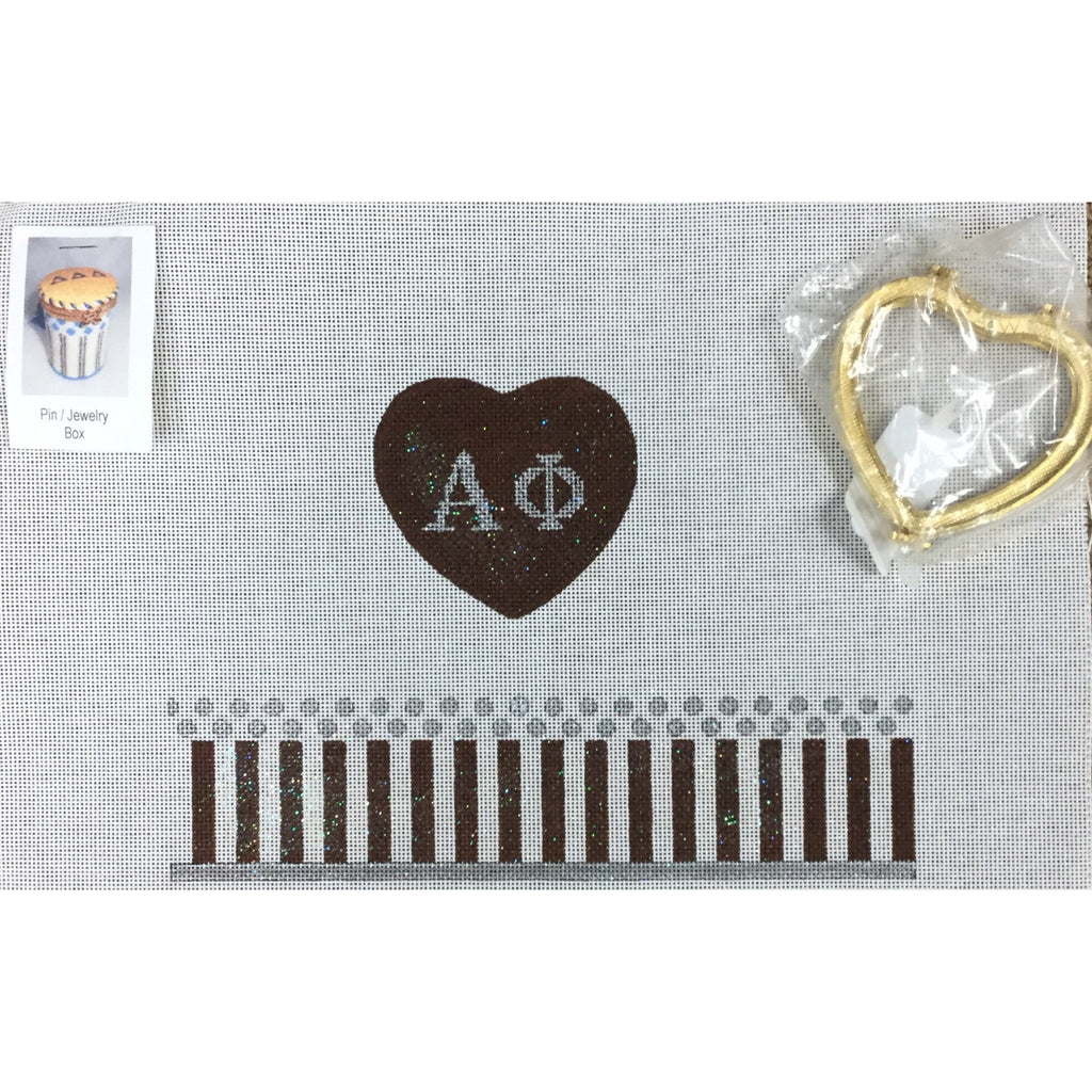 Alpha Phi Limoges Box Canvas-Needlepoint Canvas-Painted Pony-KC Needlepoint