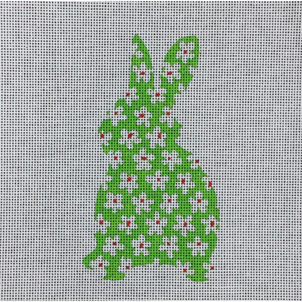 Bunny with Flowers Ornament Canvas - needlepoint
