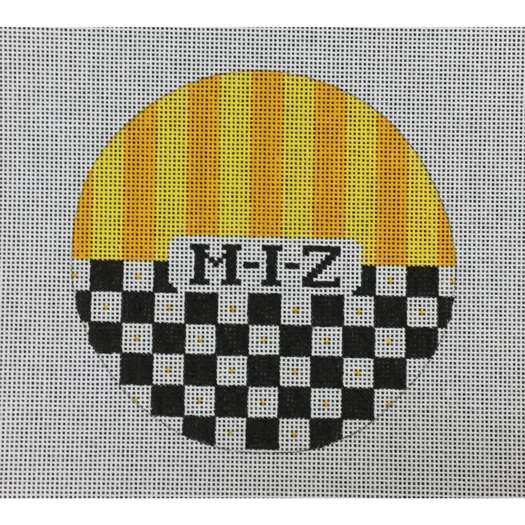 "MIZ</br> 4 1/2"" Check Round Canvas-Kangaroo Paws-KC Needlepoint"