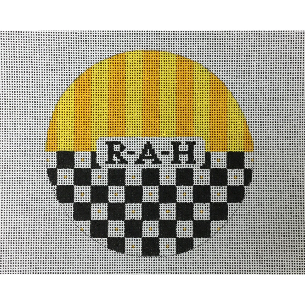 "RAH</br> 4 1/2"" Check Round Canvas - needlepoint"