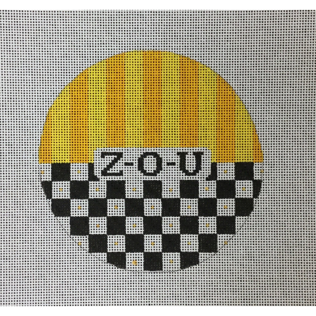 "ZOU</br> 4 1/2"" Check Round Canvas - needlepoint"