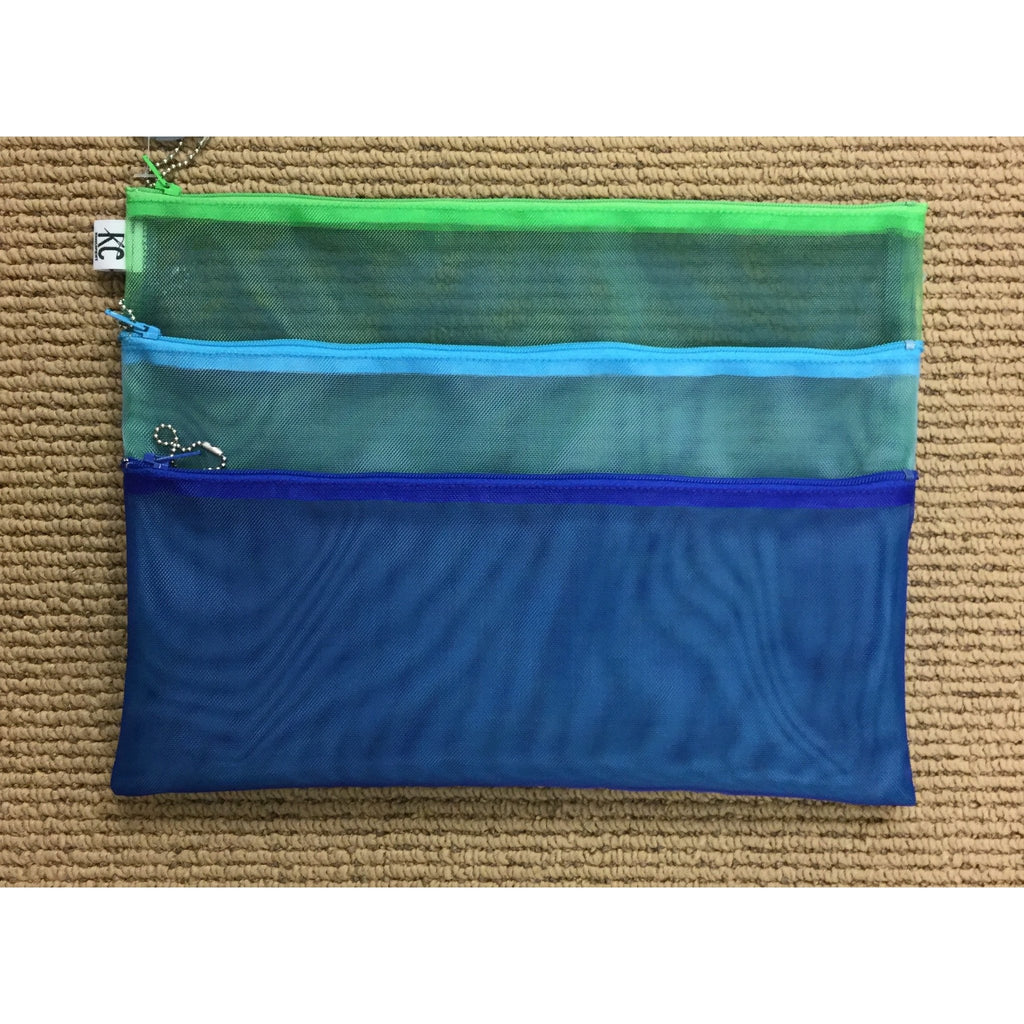 Walker 9x12 Triple Zip Bag-Accessories-Walker-Blue-Aqua-Green-KC Needlepoint