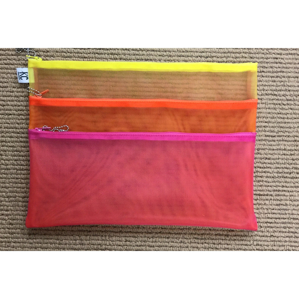 Walker 9x12 Triple Zip Bag-Accessories-Walker-Fuchsia-Orange-Yellow-KC Needlepoint