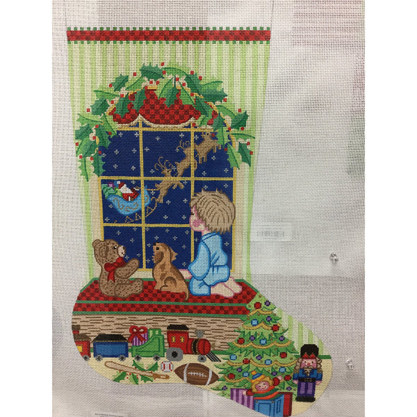 Boy at Window Stocking Canvas - needlepoint