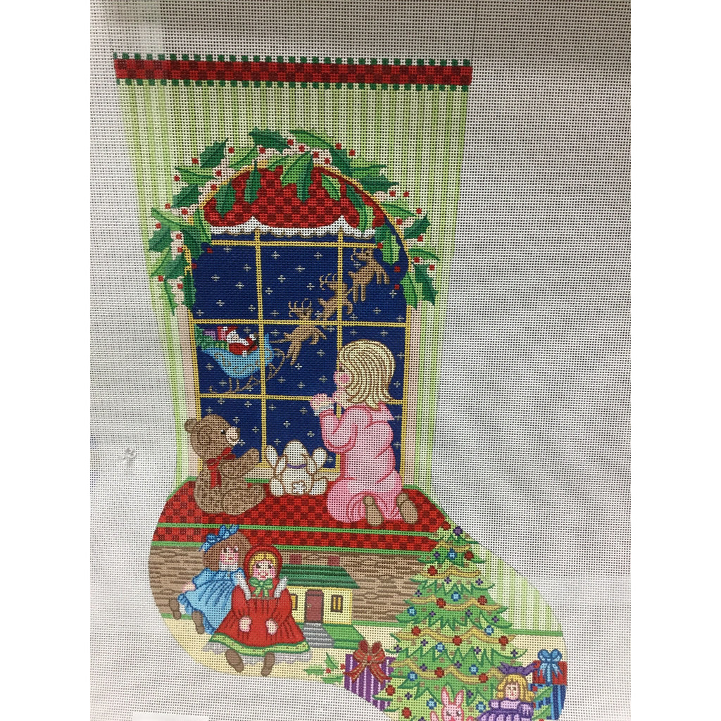 Girl at Window Stocking Canvas - needlepoint
