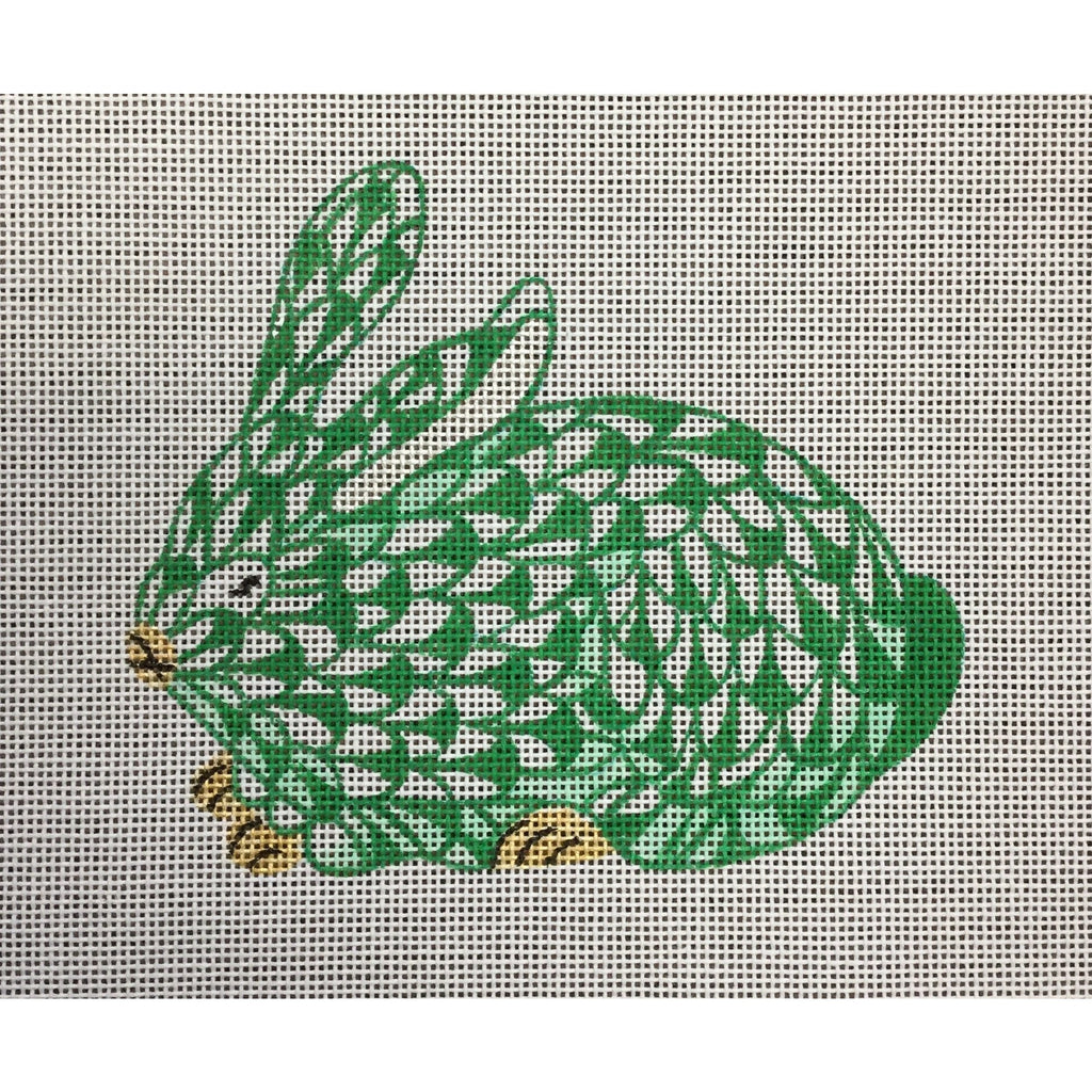 Herend Green Bunny Needlepoint Ornament Canvas-Needlepoint Canvas-Kate Dickerson-18 mesh-KC Needlepoint