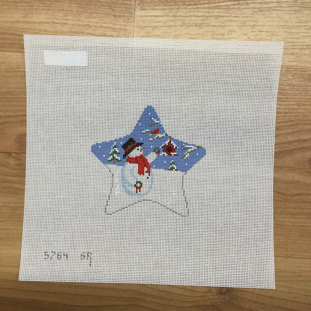 Star with Snowman and Wreaths Canvas-Needlepoint Canvas-Susan Roberts-KC Needlepoint