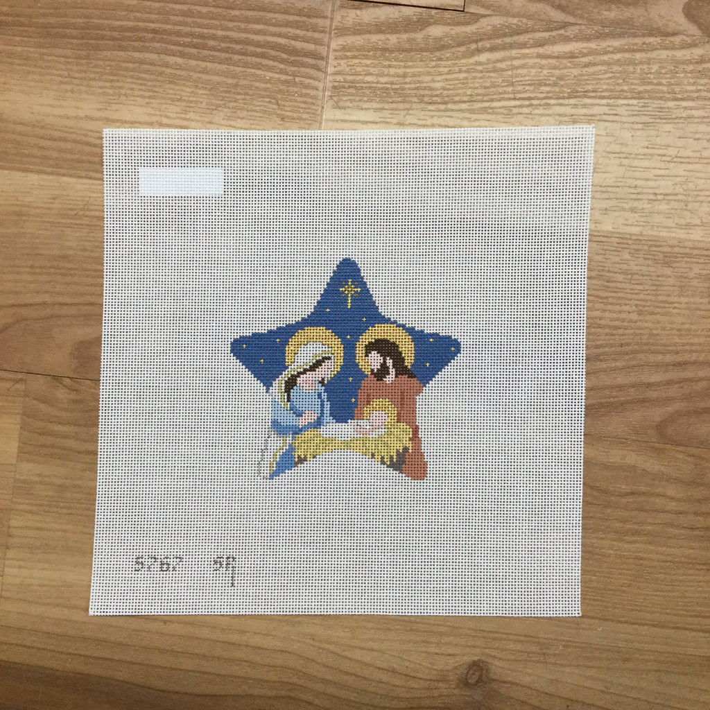 Star with Nativity Canvas - needlepoint
