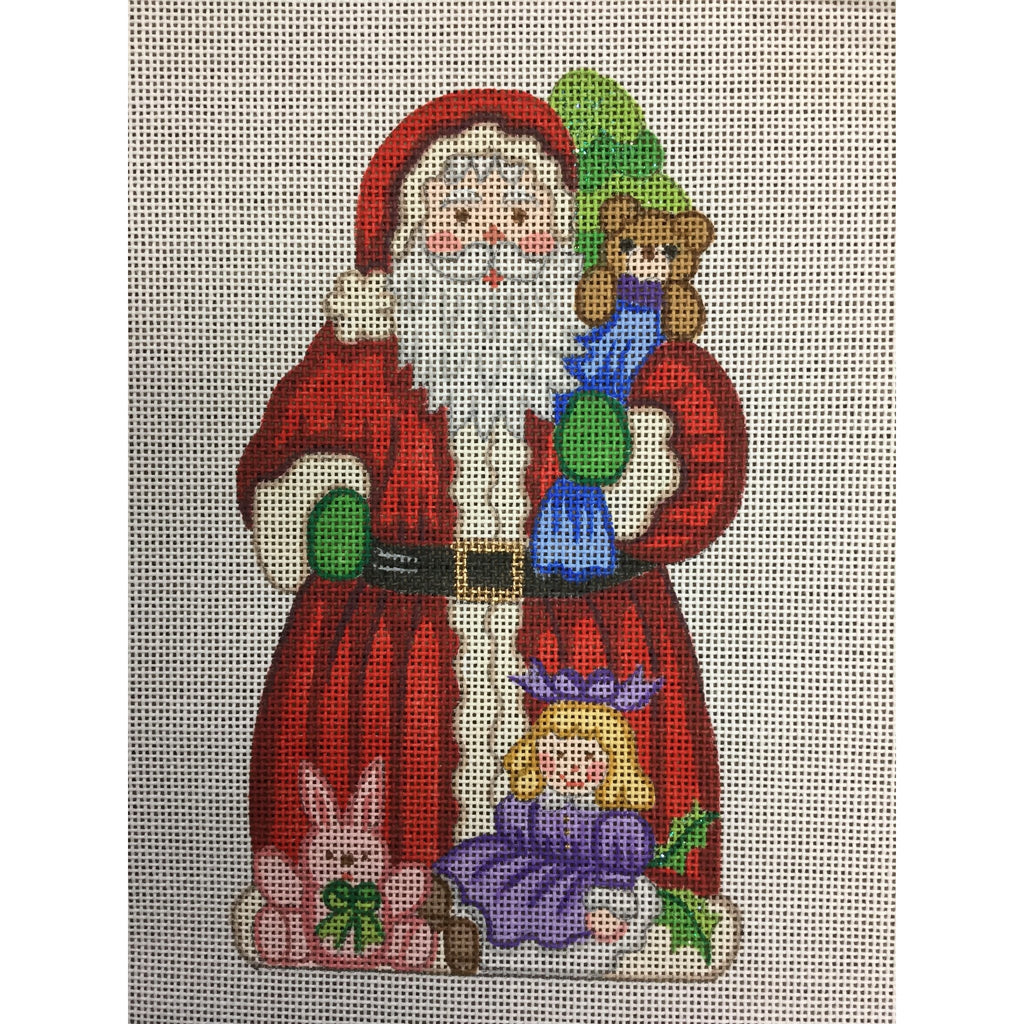 Santa with Doll & Bear Canvas-Needlepoint Canvas-Alexa Needlepoint Designs-KC Needlepoint