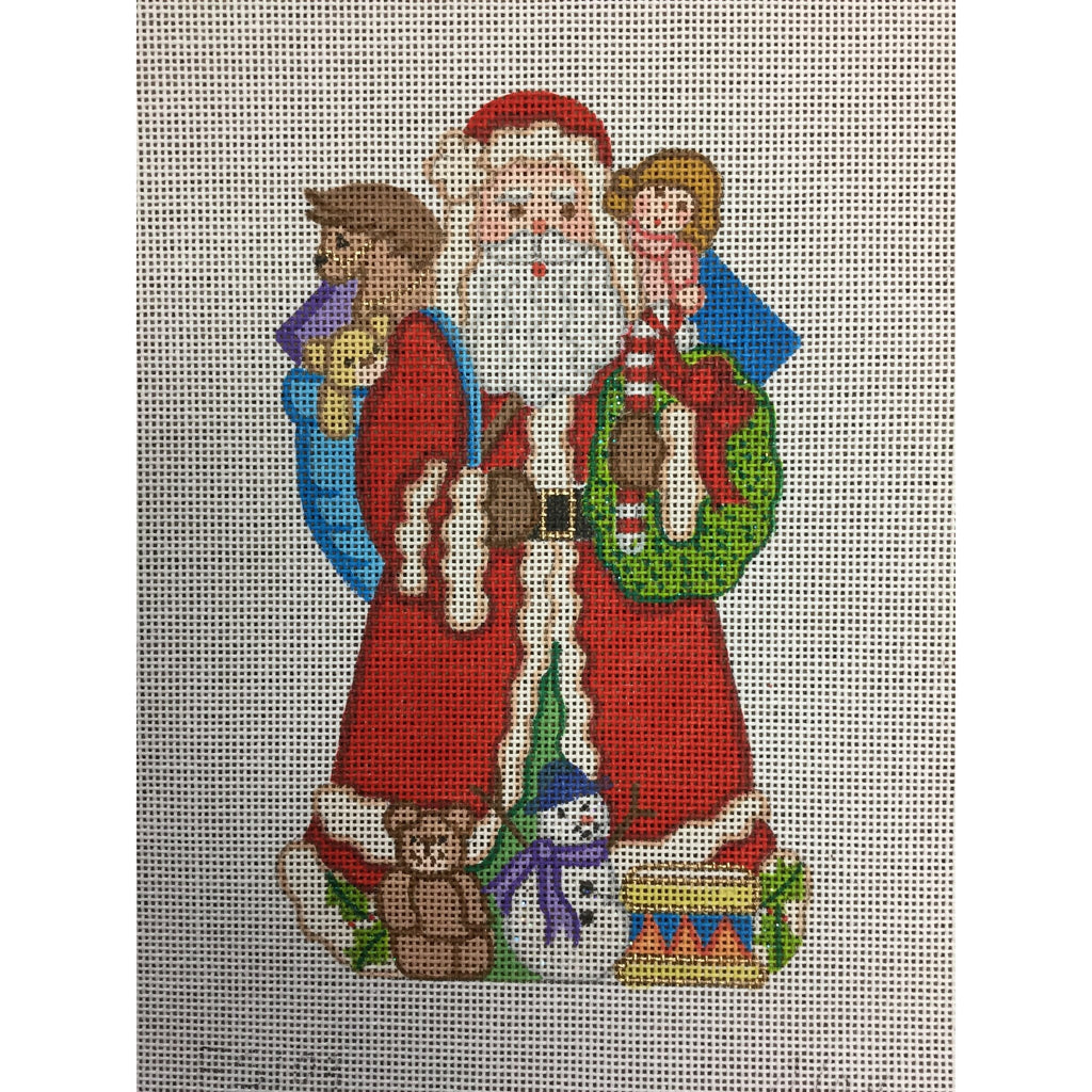 Santa with Wreath Canvas - needlepoint