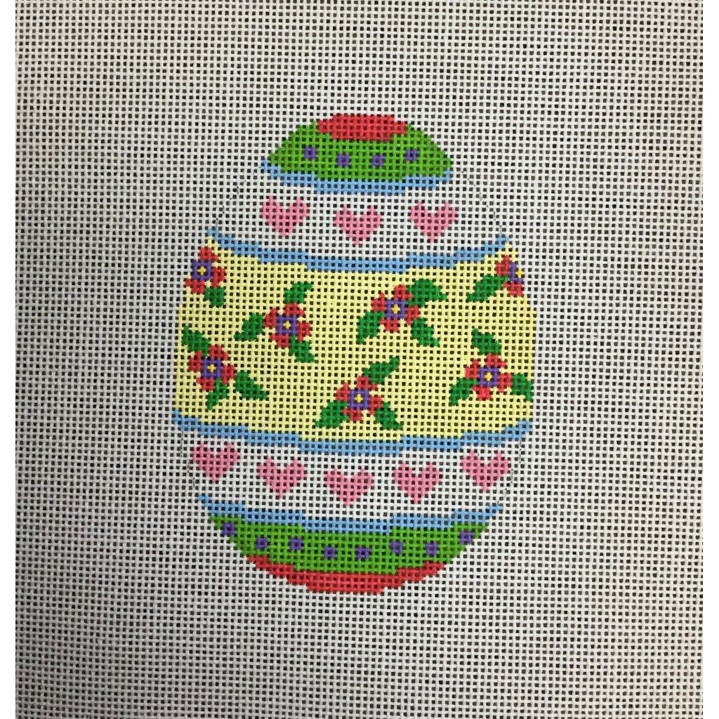 Floral Heart Egg Canvas - needlepoint