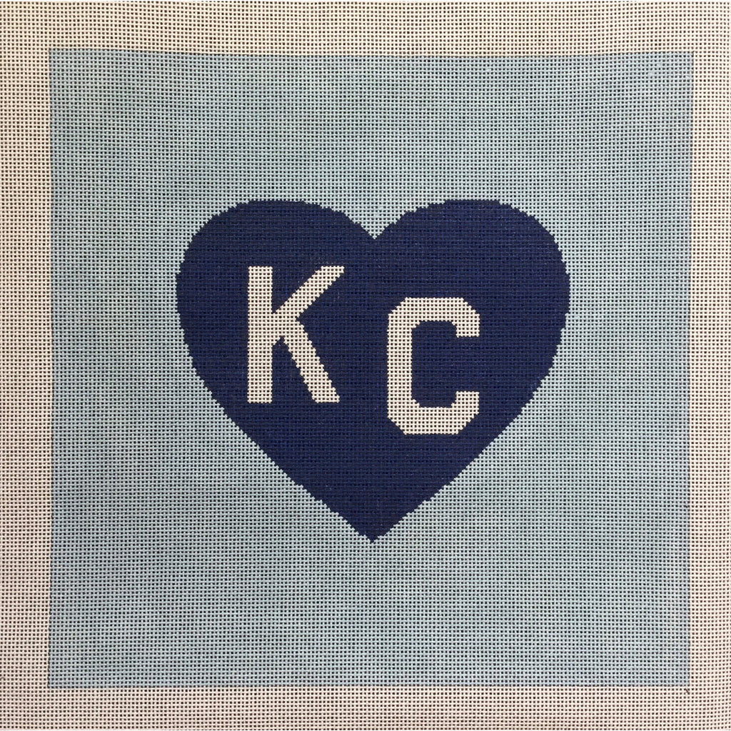 KC in Heart Pillow Canvas-Needlepoint Canvas-KCN Designers-Blue on Blue-KC Needlepoint