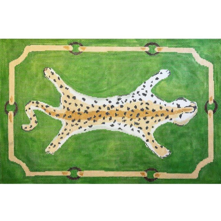 Leopard in Green Canvas-Needlepoint Canvas-The Plum Stitchery-KC Needlepoint