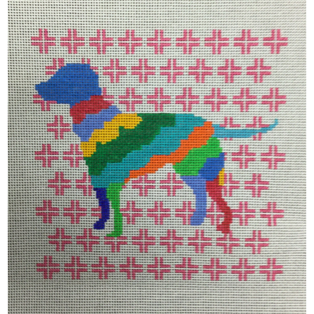 Colorful Lab Canvas - needlepoint