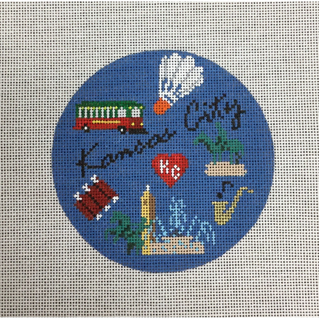 Kansas City Travel Round Canvas-Needlepoint Canvas-KCN Designers-KC Needlepoint