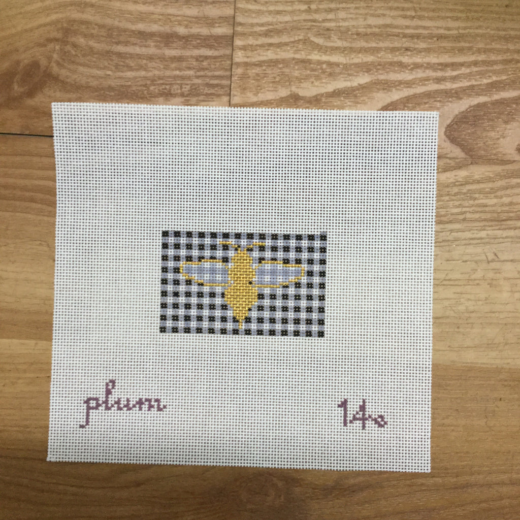 Bee and Gingham Canvas - needlepoint