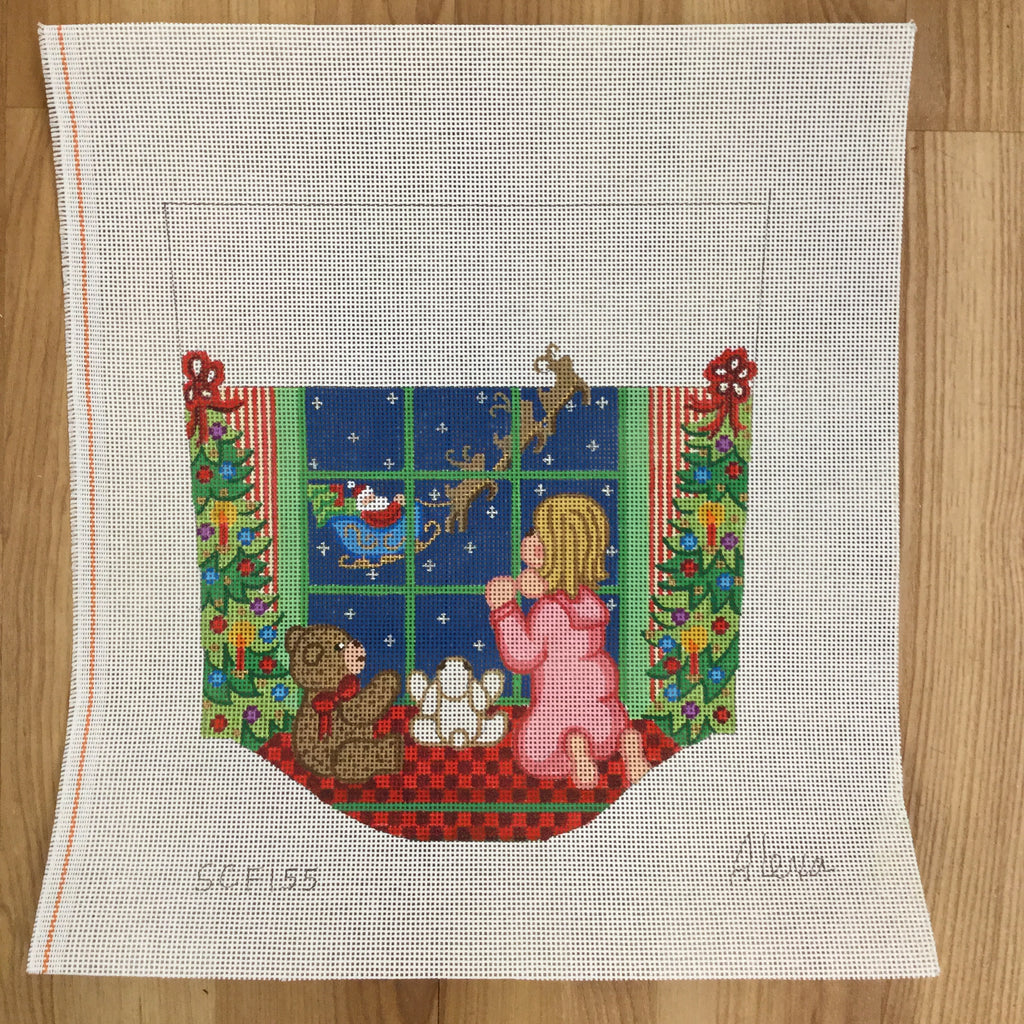 Girl at Window Stocking Cuff Canvas - needlepoint