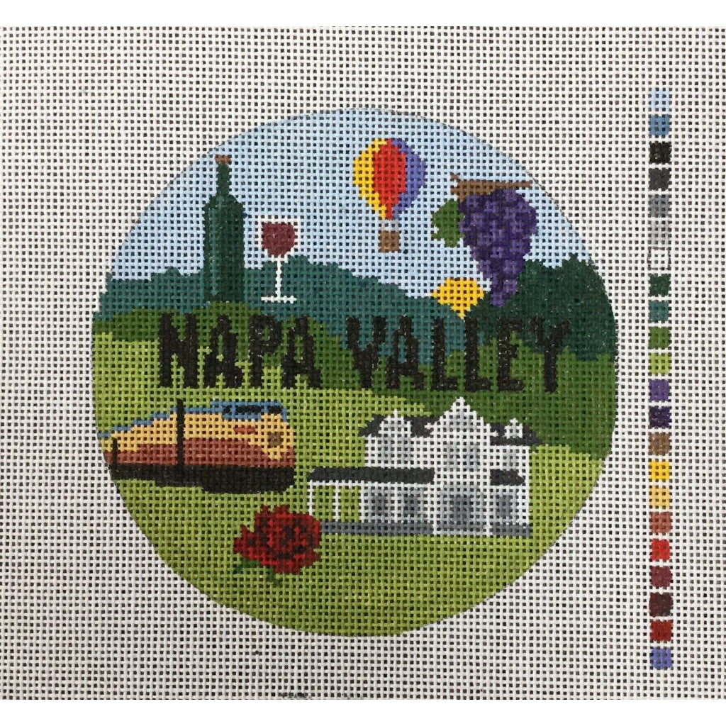 Napa Valley Travel Round-Needlepoint Canvas-KCN Designers-KC Needlepoint