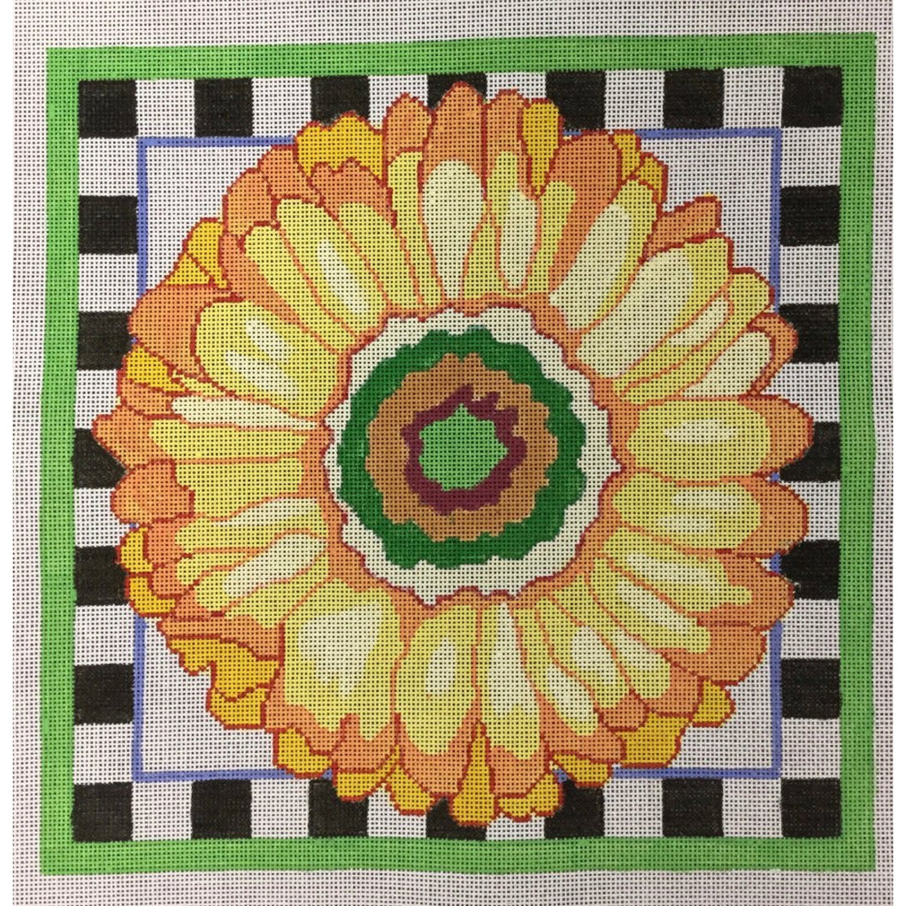 Bold Yellow Daisy Canvas - needlepoint