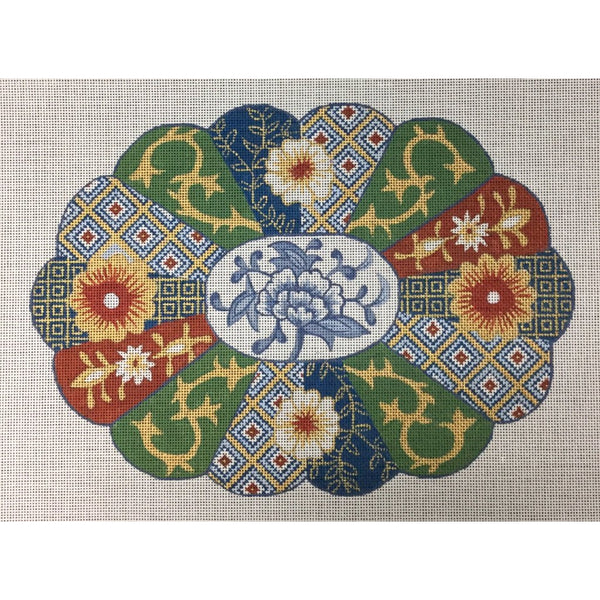 Scalloped Imari Canvas - needlepoint