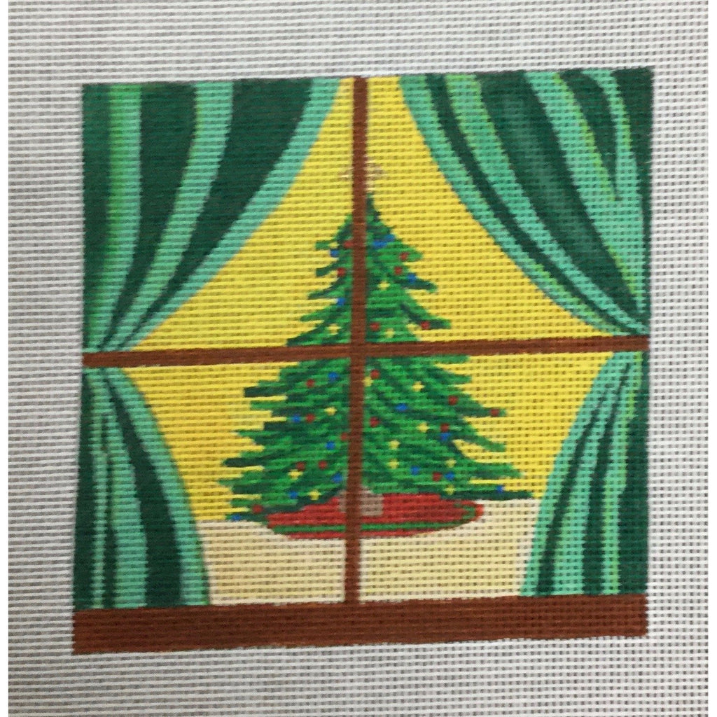 Christmas Tree in Window Canvas-KC Designs-KC Needlepoint
