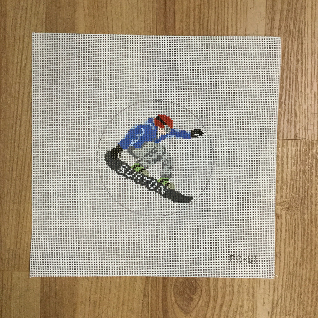 Snowboarder Canvas - needlepoint
