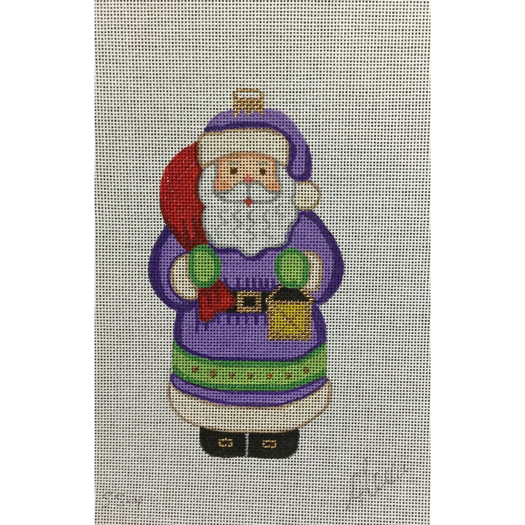 Santa with Purple Coat Canvas-Needlepoint Canvas-Alexa Needlepoint Designs-KC Needlepoint