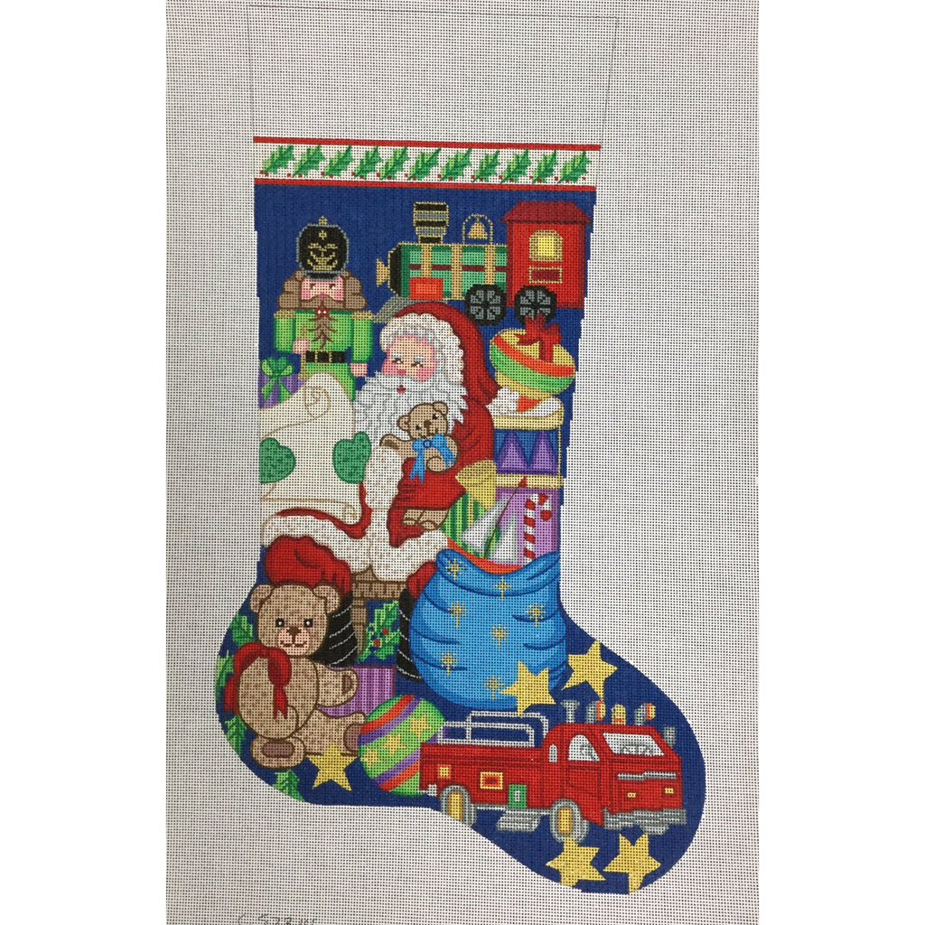 Santa with Toys Stocking Canvas-Needlepoint Canvas-Alexa Needlepoint Designs-KC Needlepoint