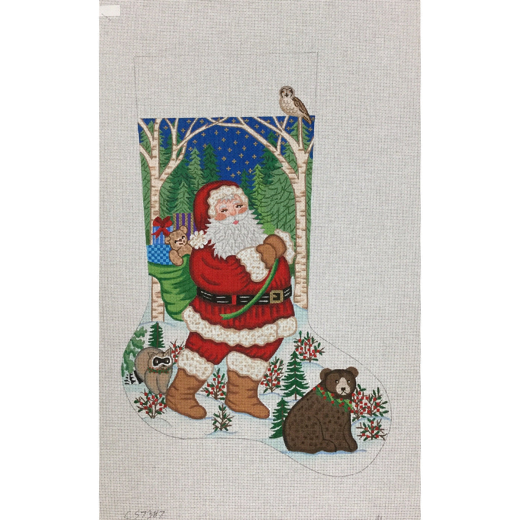 Santa with Animals Stocking Canvas - needlepoint