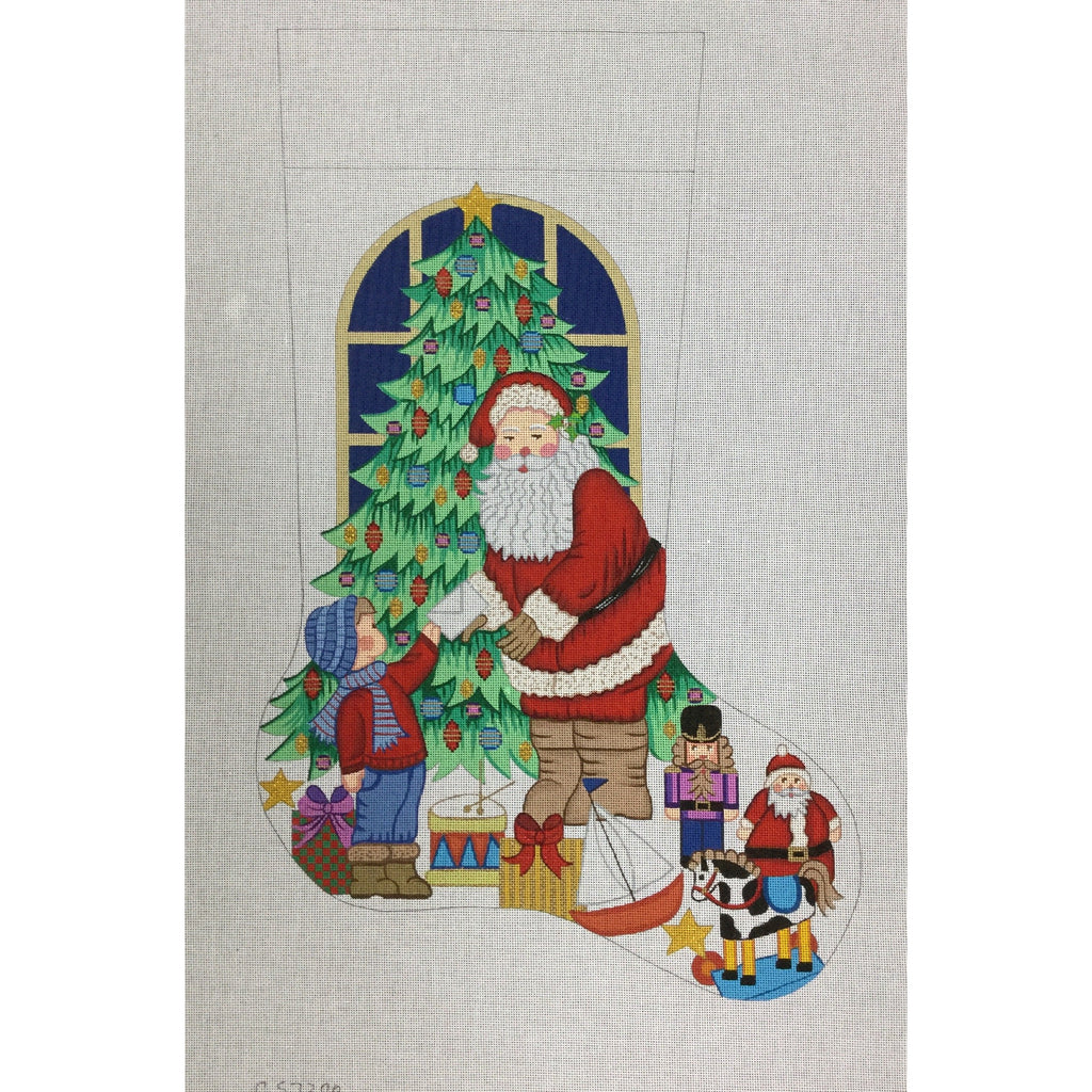Boy with Letter Stocking Canvas-Needlepoint Canvas-Alexa Needlepoint Designs-KC Needlepoint