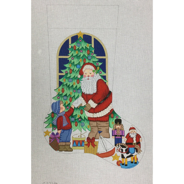 Boy with Letter Stocking Canvas - needlepoint